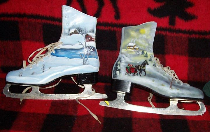 Country Christmas Tour Painted Ice Skates