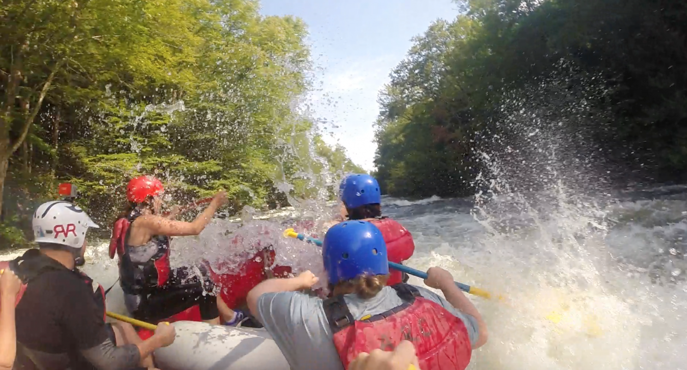 Lots of rocks makes for lots of rapids. Everybody paddle!