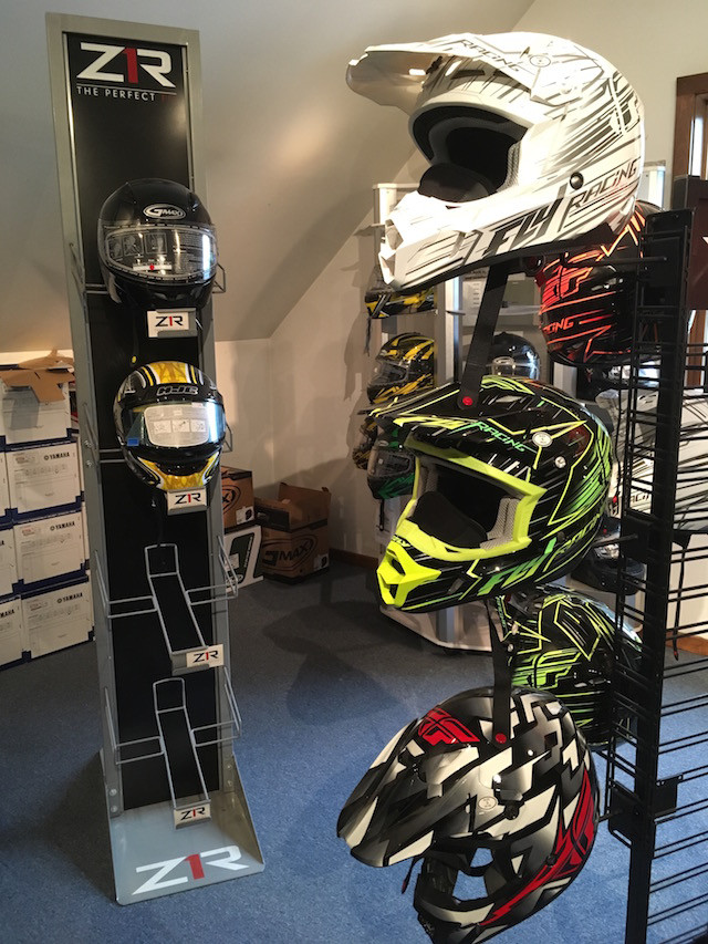Snowmobile helmets at Village Motors in Speculator.
