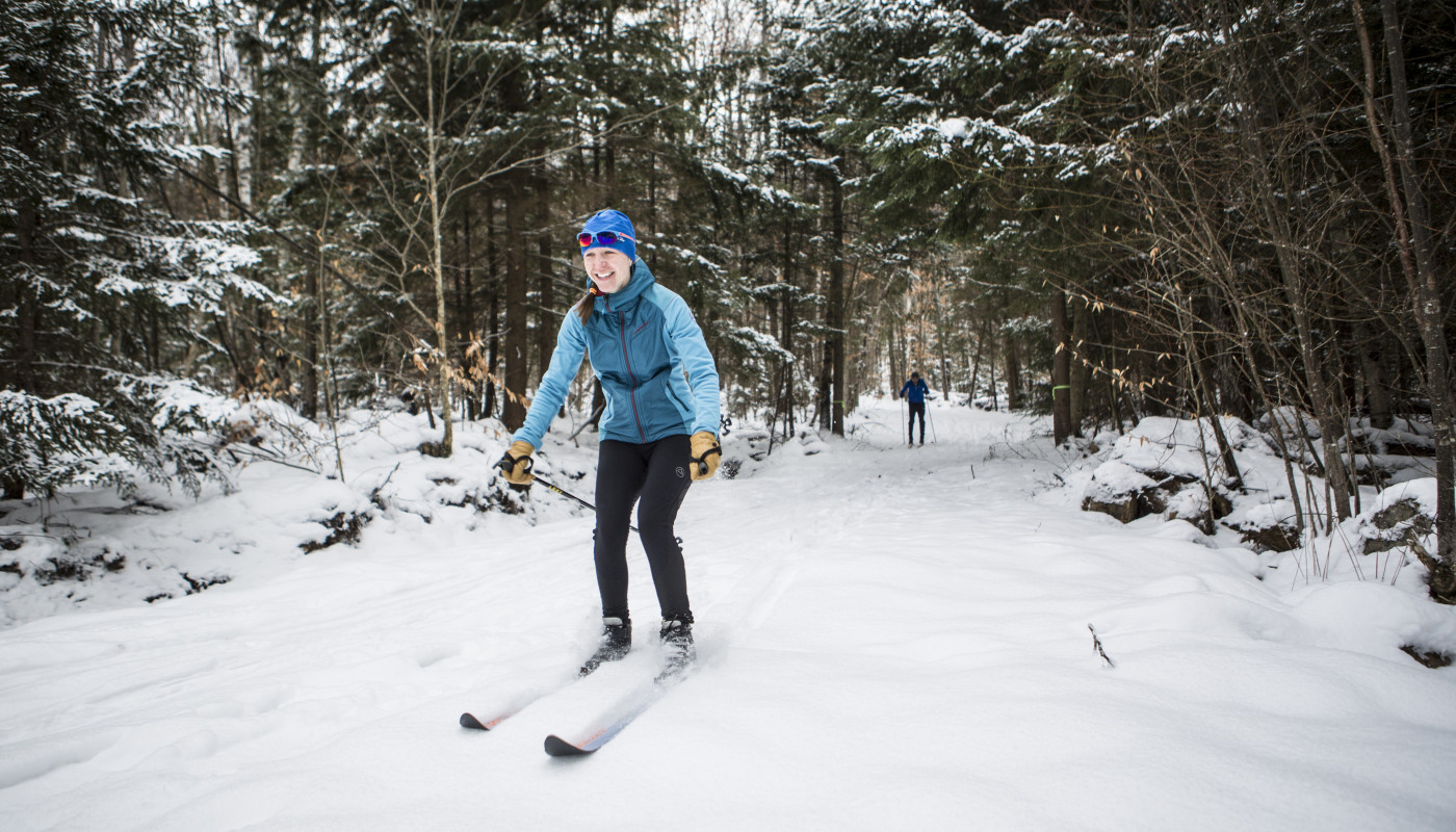 Cross-country skier on trail